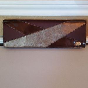 Brown Faux Leather Clutch & Shoulder Bag